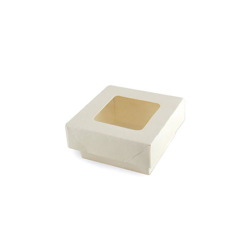 """White Kray Collection - Small White Box with Lid 2.8 x 2.8 x 3.35"""""""