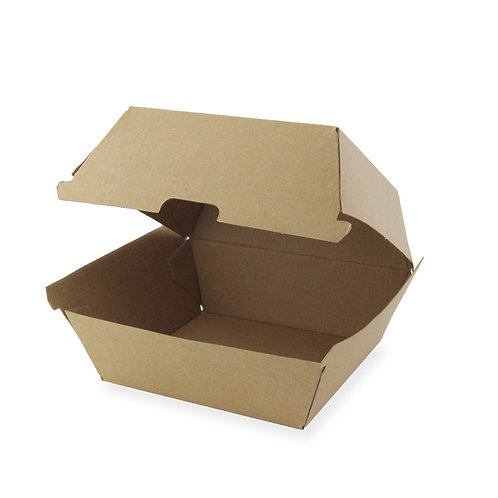 Kraft Takeout Collection - Kraft Corrugated Clamshell Burger Box
