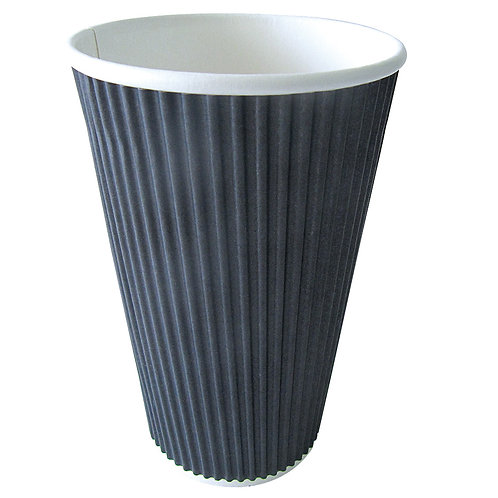 Hot Cup - 16oz Black Ripplay Cup