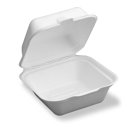 Small Hinged Container 6 x 6 x 3 Sugarcane To-Go