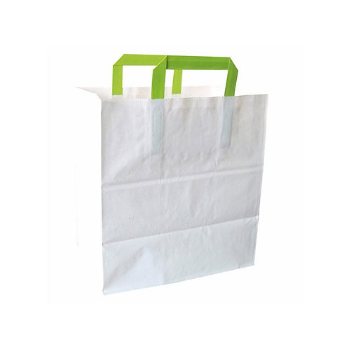 White Paper Bag with Green Handles