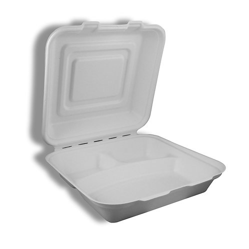 """Large Hinged Container 9 x 9 x 3"""" Sugarcane To- Go 3 comp."""
