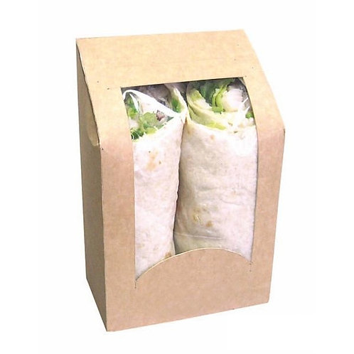 Brown Wrap or Cookie Sleeve Box With Window  - 24oz