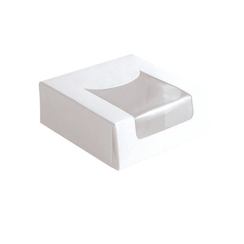 """White Pastry Box With Window - 3.9 x 3.9 x 1.6"""""""
