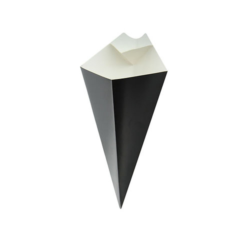 Black Paper Cone with Built in Dipping Sauce  Compartment