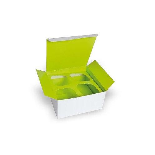 Green Cupcake Box with window (4 -cups)6.7 x 6.7 x 3.3