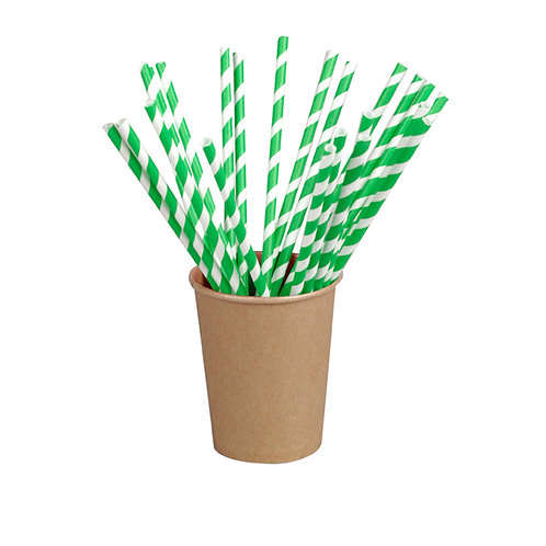 Green Striped Paper Straws Coated with Bee's Wax (Wrapped)