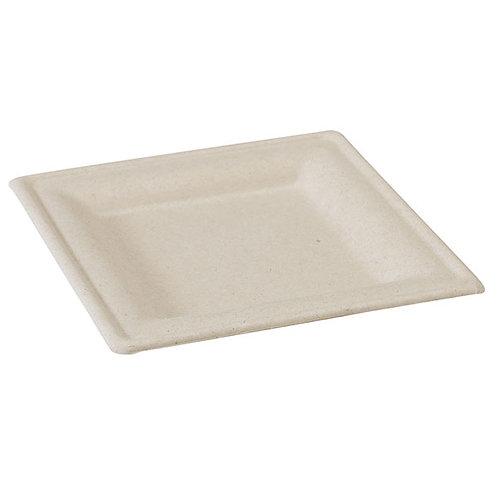 "10.2 x 10.2"" Square Brown Sugarcane Plate"