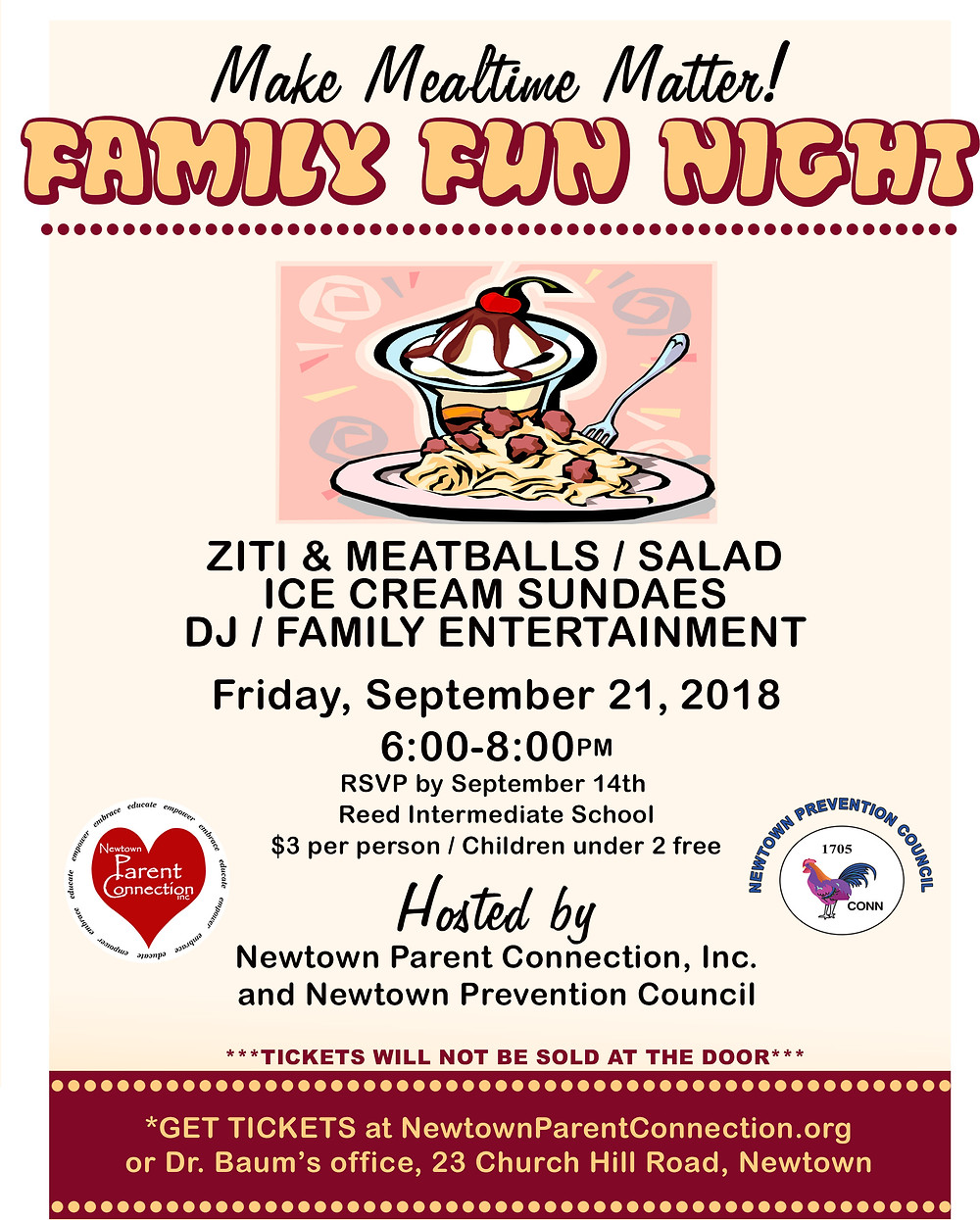 Newtown Parent Connection Family Dinner Night 2018