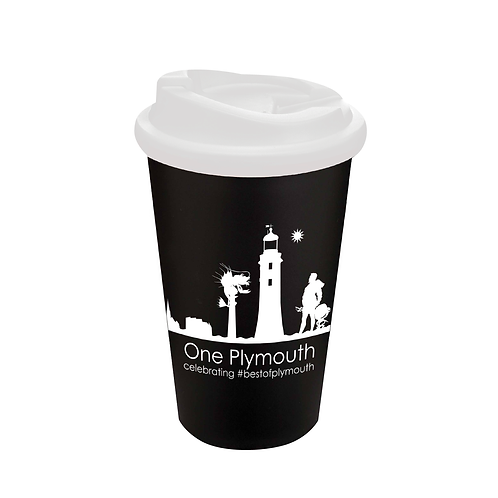 Black One Plymouth Cup with Non-Spill Lid