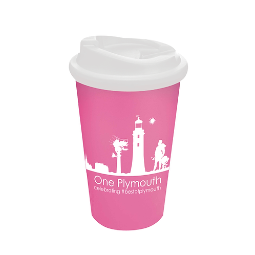Pink One Plymouth Cup with Non-Spill Lid