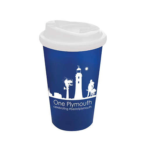 Blue One Plymouth Cup with Non-Spill Lid