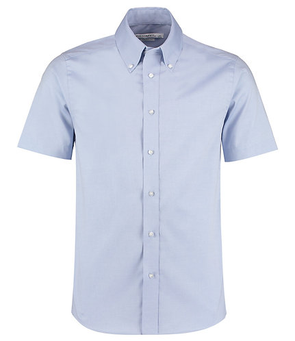 K187Kustom Kit Premium Short Sleeve Tailored Oxford Shirt Light Blue
