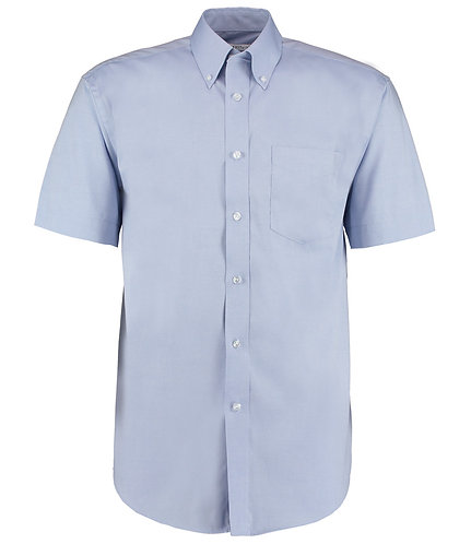 K109 Kustom Kit Premium Short Sleeve Classic Fit Oxford Shirt Light Blue