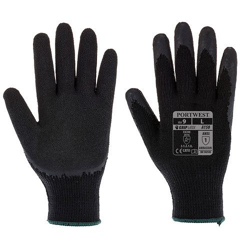 A150 - Classic Grip Glove - Latex  Black - Pack of 10