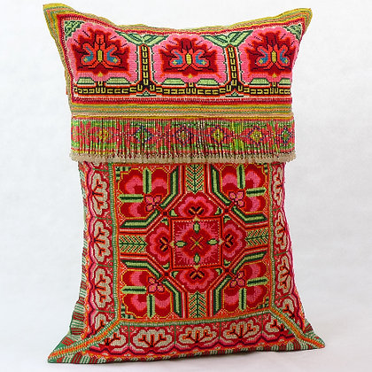 Hmong embroidered cushion with beads LC3