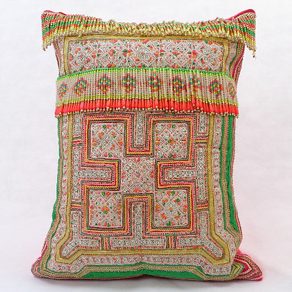 Hmong embroidered cushion with beads LC1