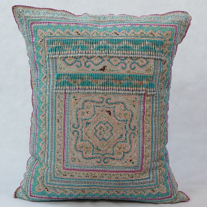 Hmong embroidered cushion with beads LC7