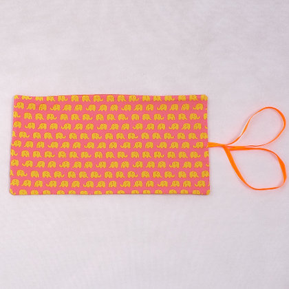 Yellow elephant on pink pencil case PC5
