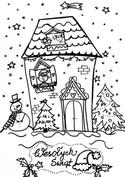 kolorowanka domek i zima