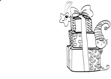Kartka Elfik i prezenty