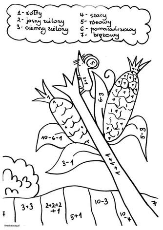 Kolorowanka Matematyczna Myszka i Kukury