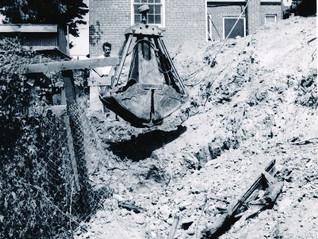 Old drag line type shovel