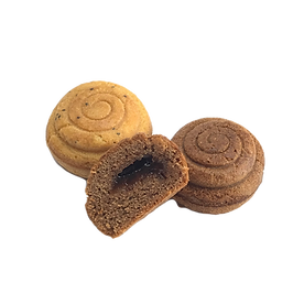 Topkek filled spiral shaped cakes made on funcake machine