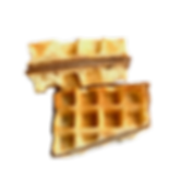 Sandwich waffle made on funcake machine wiht chocolate filling