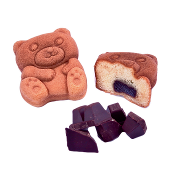 Funcake bear shape with filling and chocolate