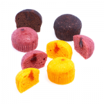 Colored steamed cup cakes with filling