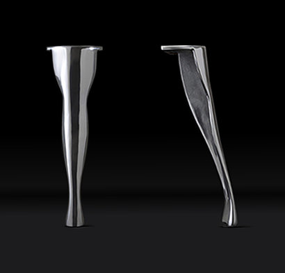 Set of 4 Highly polished, cast Aluminium Legs with adjustable foot
