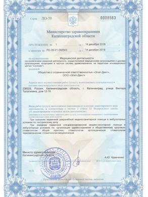 Приложение к лицензии Элит-Дент