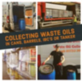 waste oil collection in cans barrels IBC