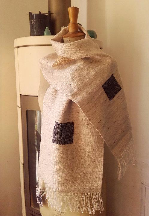 Echarpe en laine d'agneau et lin marron