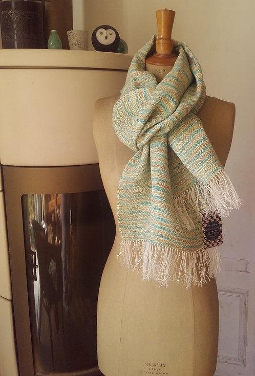 Echarpe en soie et lin turquoise, beige et écrue