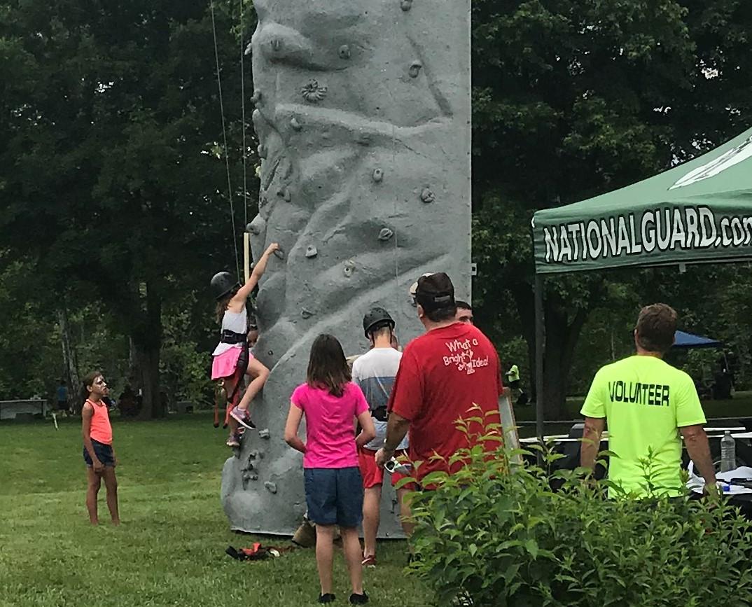 National Guard rock wall climbing