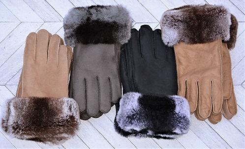 Sheepskin Gloves with Rabbit Cuff