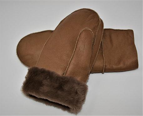 Sheepskin  Mittens Saddle Brown Napa