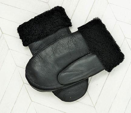 Sheepskin  Mittens Black Napa