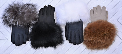 Sheepskin Gloves with Fox Cuff