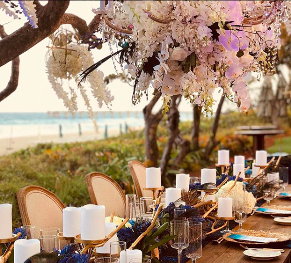 Beautiful floral tree centerpiece by the beach