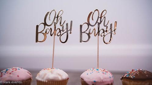 """Oh baby"" cake picks"
