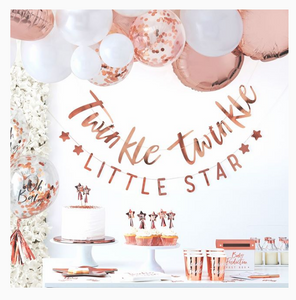 twinkle tiwnkle little star, rose gold, baby shower, baby shower set up, banner, balloons