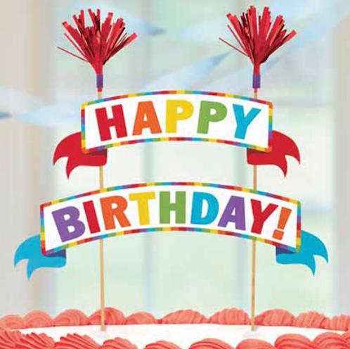 Happy Birthday Streamer Cake Topper