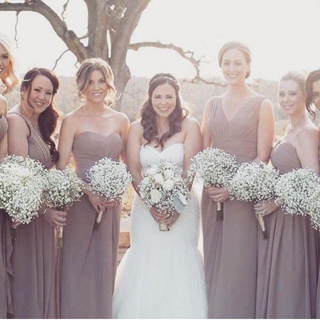 Bridal Party Flowers #babysbreath #sprin