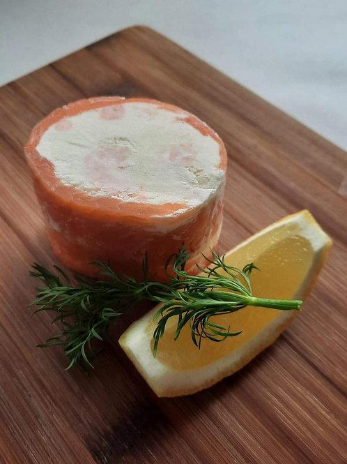 Smoked Salmon, prawn and cream cheese roulade