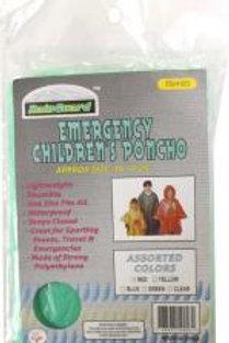 RainGuard Multi-color Plastic Children's Size Emergency Rain Poncho : ( Pack of