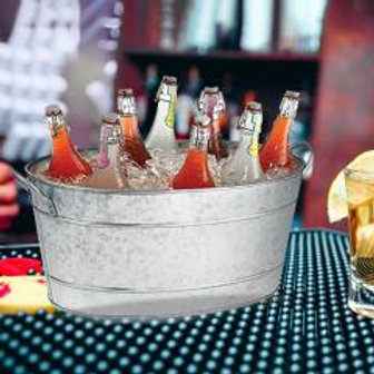 Galvanized Beverage Tub With Handles, Gray