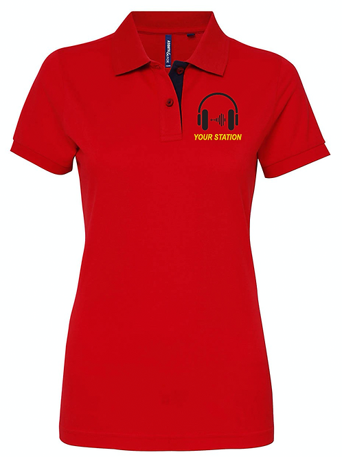 WOMENS polo shirt HEADPHONE001- AQ022